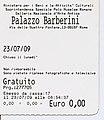 Eintrittskarte für Galleria Nazionale d'Arte Antica (Standort Palazzo Barberini, Rom) 2009.jpg
