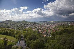 View over Eisenach with Wartburg castle to the left
