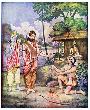 Guru–shishya tradition - Ekalavya's dakshina of his right hand thumb to his guru.