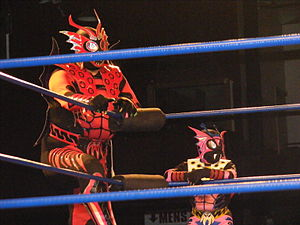 El Alebrije (wrestler) - El Alebrije (left) and Cuije in April 2010