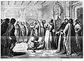 El joven Juan de Brocar presenta al cardenal Cisneros el último pliego de la Biblia Polyglota, de José de Méndez, La Ilustración Española y Americana, 24 de enero de 1873.jpg