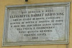 Photo of Elizabeth Barrett Browning white plaque