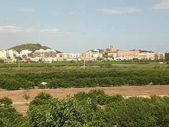 El Puig - El Puig with its two wooded hills and the monastery in the centre