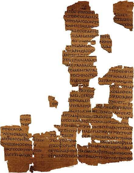 A piece of the Strasbourg Empedocles papyrus in the Bibliotheque nationale et universitaire, Strasbourg Empedokles fragment Physika I 262-300.jpg