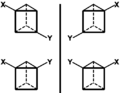 Enatiomers of ortho, meta isomers of XYprismane.png