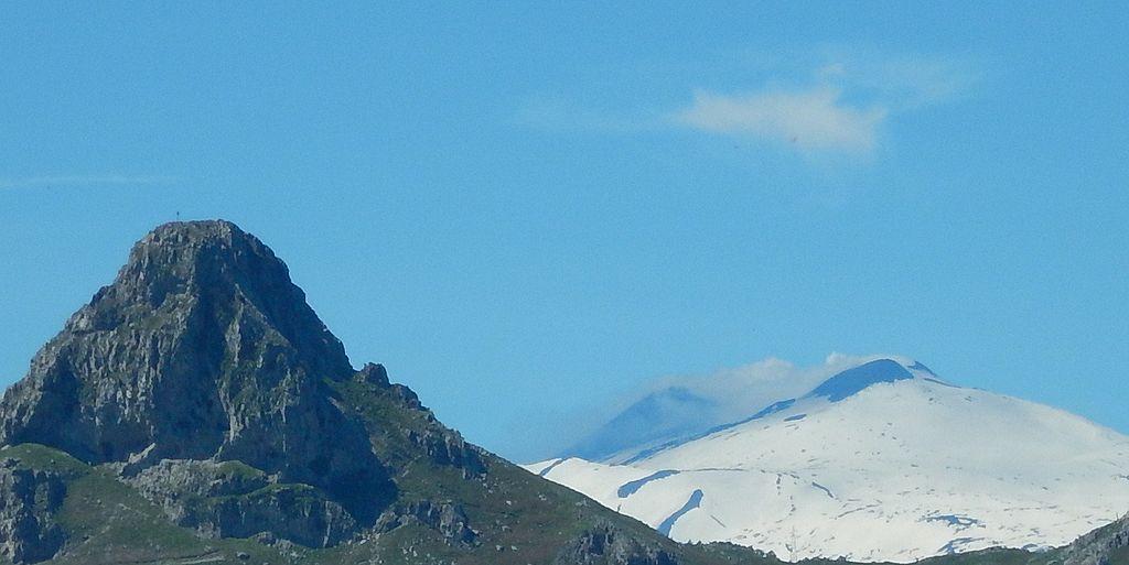 Etna and Rocca Salvatesta, monti Peloritani,sicily