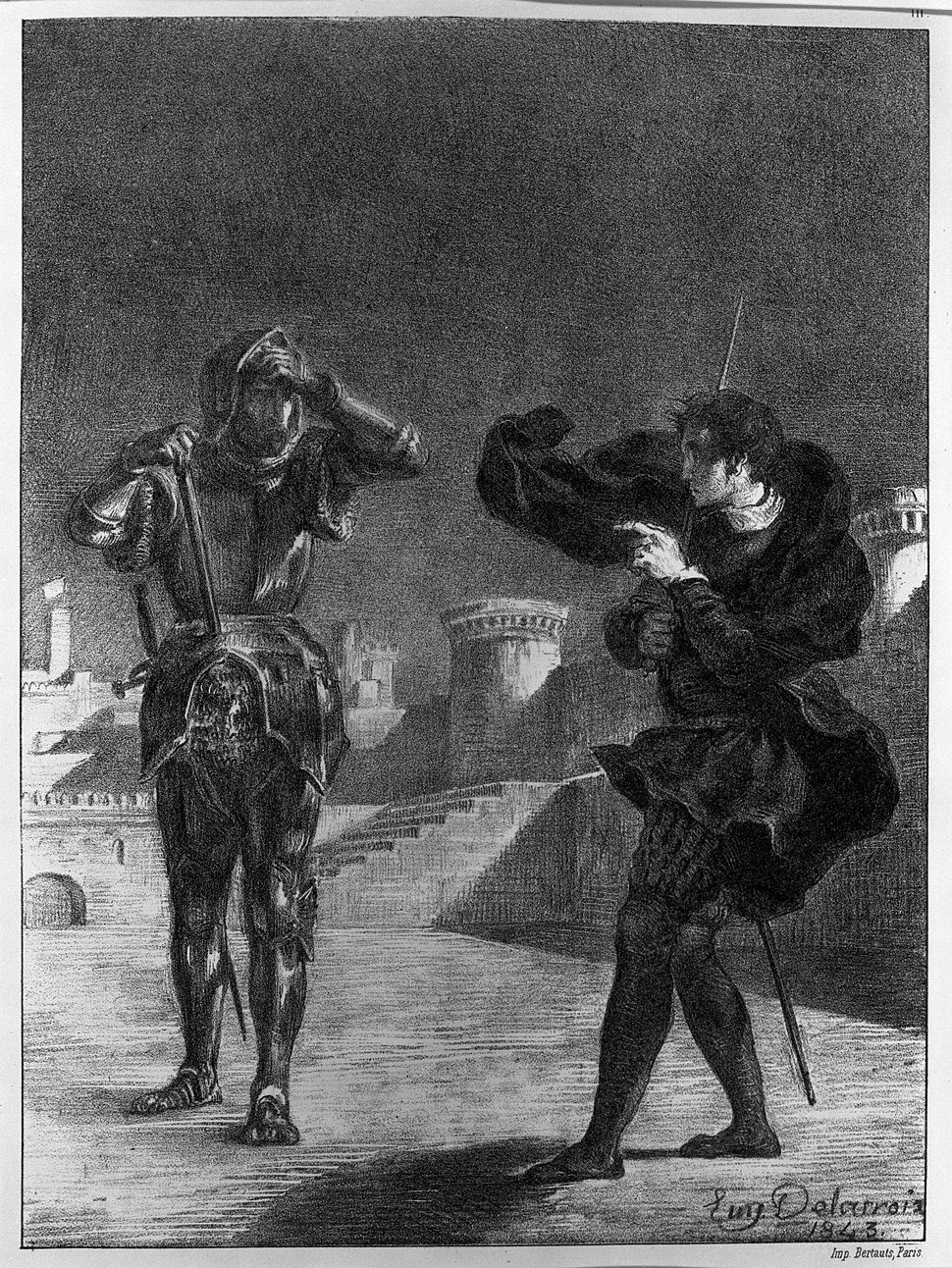 Eugène Delacroix. The Phantom on the Terrace, Hamlet