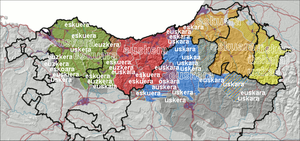 Basque dialects - The language name Euskara in the dialects of Basque located on the new dialect map by Koldo Zuazo.