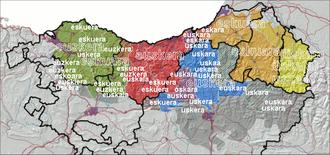 Basque dialects - The language name Euskara in the dialects of Basque located on the new dialect map by Koldo Zuazo.