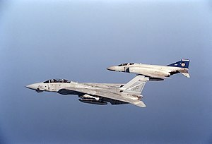 No. 19 Squadron RAF - 19 Sqn. Phantom FGR.2 with a US Navy F-14A during Desert Shield in 1990