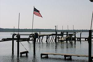 Pungo River - A broken pier on the Pungo River in Belhaven, NC after Hurricane Isabel