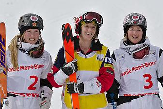 FIS Moguls World Cup 2015 Finals - Megève - 20150315 - Justine Dufour-Lapointe, Hannah Kearney et Chloé Dufour-Lapointe 1.jpg