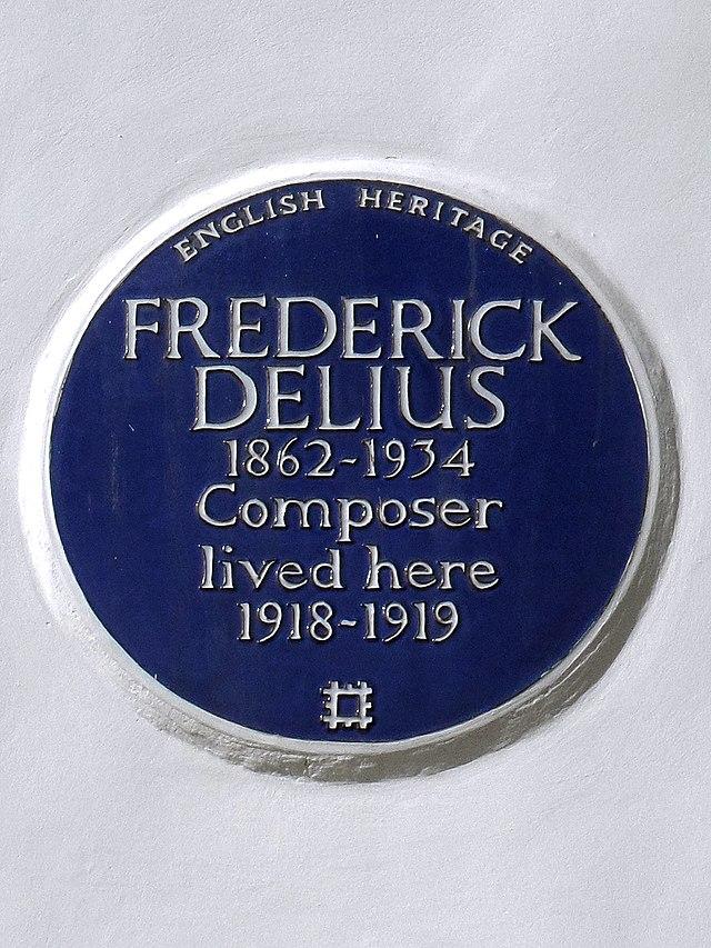 Frederick Delius blue plaque - Frederick Delius (1862-1934), composer, lived here 1918-1919.