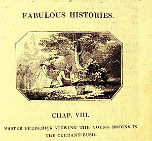 Fabulous Histories - This, the lede image of chapter 8, shows Master Frederick viewing the young robins.