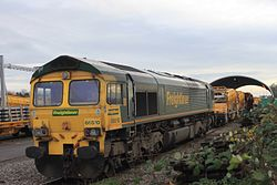 Fairwater Yard - Freightliner 66510 in front of the maintenance shed.JPG