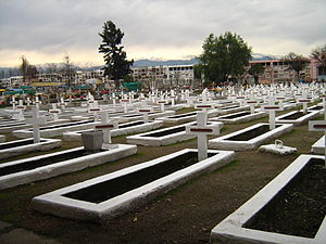 1945 El Teniente mining accident - Tombs of workers dead in the smoke tragedy, in Rancagua
