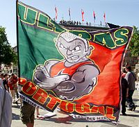 Fans of the Portuguese national football team in Cologne - flag of the Ultras