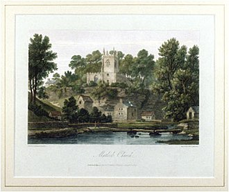 John Byrne (English artist) - Matlock church: engraving by John and Letitia Byrne after a painting by Joseph Farington. Published in 1817 in Britannia Depicta, Part VI, Derbyshire