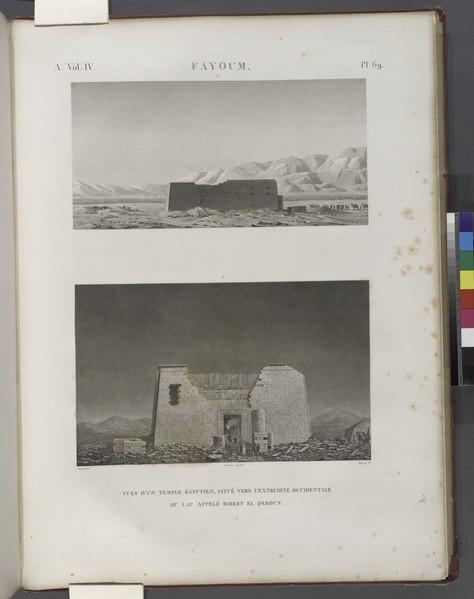 File:Fayoum (Fayyûm). Vues d'un temple égyptien, situé vers l'extrémité occidentale du lac appelé Birket el-Qeroun (Birket Qarun, or Lake Moeris) (NYPL b14212718-1268164).tiff