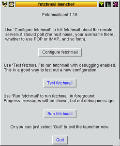 Screenshot del launcher di Fetchmail