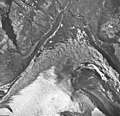 Finger Glacier, east lobe of the terminus covered with rocks, September 16, 1966 (GLACIERS 5462).jpg