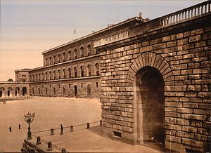 Palazzo Pitti - Early, tinted 20th-century photograph of the Palazzo Pitti, then still known as La Residenza Reale following the residency of King Victor Emmanuel II between 1865 and 1871, when Florence was the capital of Italy.