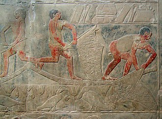 Mereruka - A vivid relief of fishermen collecting their catch at Mereruka's tomb