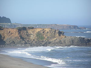 Lincoln County, Oregon - Lincoln Beach, Oregon, Fishing Rock with Rabbit Rock in background