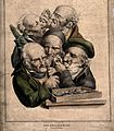 Five antiquaries look through magnifying glasses at objects. Wellcome V0011716.jpg