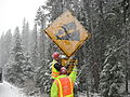 Fixing sign in Willamette Pass (5201529693).jpg