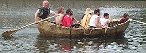 Currach - Reconstruction of a 1 AD skin-covered boat on the Great Ouse in Bedford