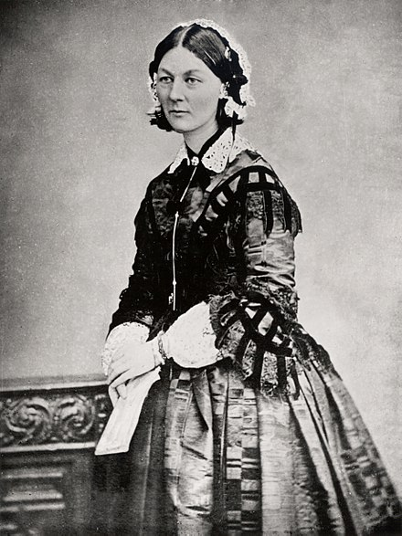 During the Crimean War, Florence Nightingale and her team of nurses cleaned up the military hospitals and set up the first training school for nurses in the United Kingdom. Florence Nightingale three quarter length.jpg