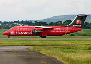 Bae 146 in the colours of an Internet gaming company. Glasgow International Airport (2006)
