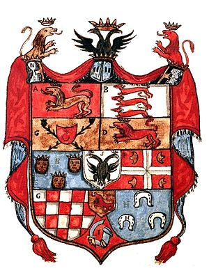 "Fojnica Armorial - The combined coat of arms on the first page of a fictional ""Illyrian Empire"", based on the one found in the Ohmućević Armorial."