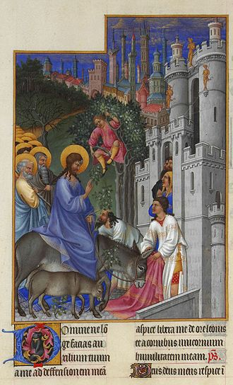 Holy Week - The entry of Jesus and His disciples into Jerusalem on Palm Sunday marks the beginning of Holy Week. Golden circles around their heads indicate their holiness.