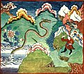Folk Tales from Tibet - The Dragon attacking the gryphon's nest.jpg
