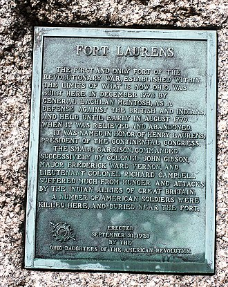 Fort Laurens - Image: Fort Laurens plaque