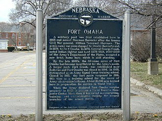 Fort Omaha - Nebraska State Historical Marker for Fort Omaha at the corner of 30th and Fort Streets