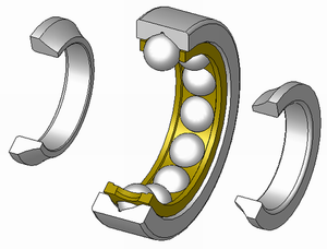 An example of a four-point contact ball bearing