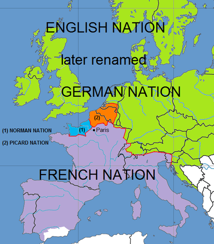 Map showing the territories covered by the four nations of the University of Paris during the Middle Ages. Four nations of the University of Paris.png