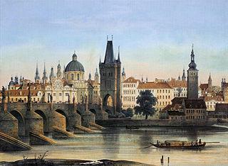 Prag - Karlsbrücke (1840) / Quelle: Wikipedia (Gemeinfrei)