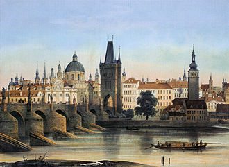 Old Town (Prague) - Old Town with Charles Bridge in 1840