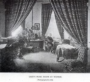 Musical works of Franz Liszt - Liszt in his music room in Weimar, photograph by Louis Held, June 1884.