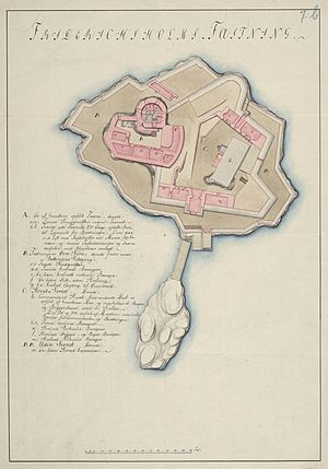 Fredriksholm Fortress - Map of Fredriksholm Fortress drawn around 1800.