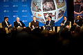 From left, USAID Administrator Rajiv Shah; U.S. Secretary of Defense Robert Gates; Secretary of State Hillary Rodham Clinton; moderator Frank Sesno, director of the School of Media and Public Affairs at George 100928-D-JB366-103.jpg