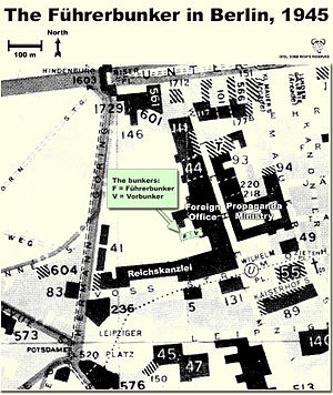Vorbunker - Map showing the locations of the Führerbunker and Vorbunker in Berlin, 1945