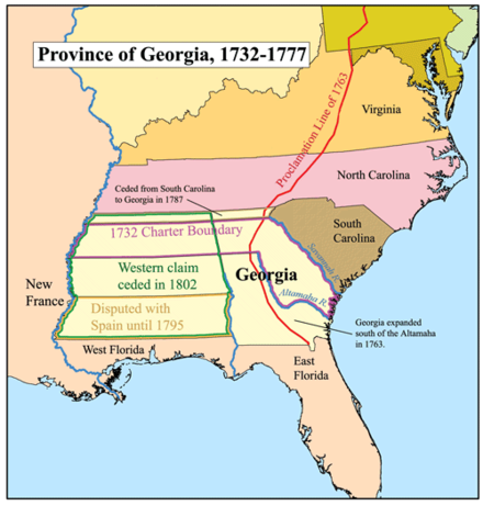 The establishment of Georgia in 1733 raised tensions by threatening Spanish possessions in the Caribbean Basin. Gacolony.png