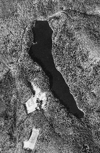 Clemuel Ricketts Mansion - Aerial view of Ganoga Lake in 1938; the mansion is in the cleared area at left.
