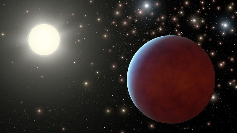 File:Gas giant exoplanet orbiting a star in a cluster - artist's concept.jpg