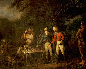 Oscar Marion - General Marion Inviting a British Officer to Share His Meal by John Blake White; Oscar Marion kneels at the left of the group.